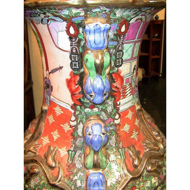 Asian 20c Chinese Cantonese Rose Medallion Famille Rose Gilted Floor Vase For Sale - Image 3 of 12