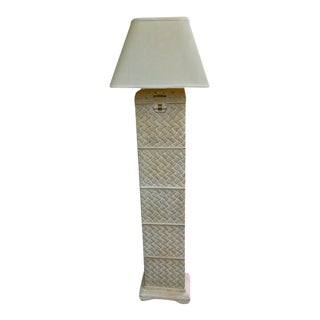 Vintage Pottery Basketweave Style Contemporary Asian Floor Lamp