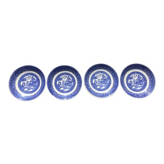 1960s Blue Willow by Homer Laughlin Small Plates - Set of 4 For Sale