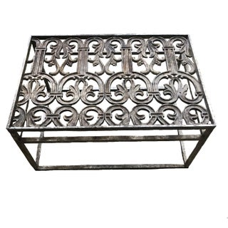 19th Century Architectural Salvaged Forged Iron Grate Coffee Table For Sale