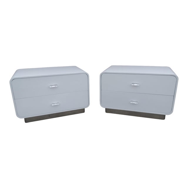 1970s Vintage Space Age Karl Springer Style Nightstands-a Pair For Sale