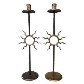 Vintage Art Deco Modern Brass Sun Candle Stick Holders - a Pair For Sale