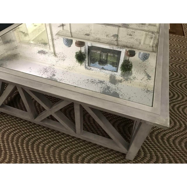 X Base Mirrored Top Wood Coffee Table - Image 5 of 8