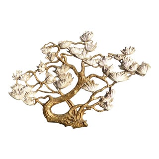 Vintage Syroco Style Gold Floral Wall Plaque For Sale
