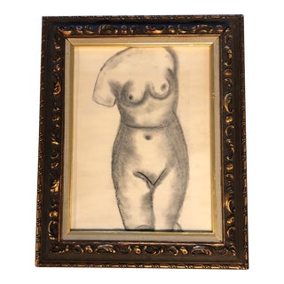 Original Mid Century Charcoal Female Nude Study For Sale