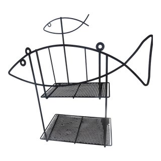 Frederic Weinberg Atomic Mid Century Modern Wire Fish Wall Shelf For Sale