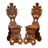 Image of Pair of 19th Century Italian Renaissance Carved Walnut Sgabello Hall Chairs For Sale