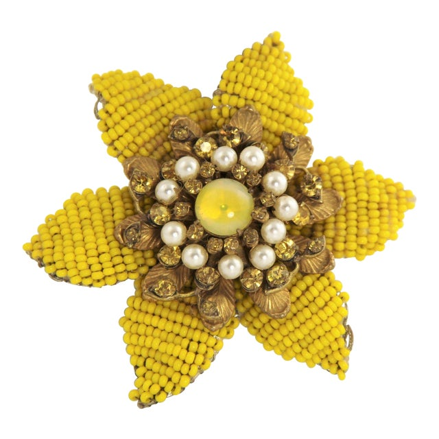 Vintage Miriam Haskell Large Beaded Flower Brooch For Sale