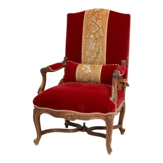 Antique Italian Louis XV Style Throne Chair For Sale
