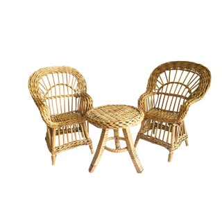 Miniature Rattan Salon Suite For Sale