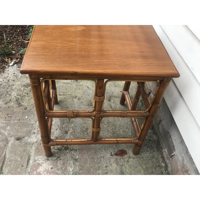 1960s Mid-Century Modern Rattan Nesting Tables - Set of 3 For Sale - Image 10 of 13