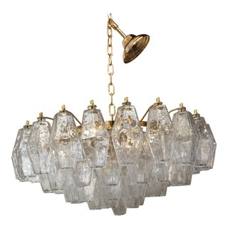 Clear Poliedro Murano Glass with 24K Gold Frame Sputnik Chandelier For Sale