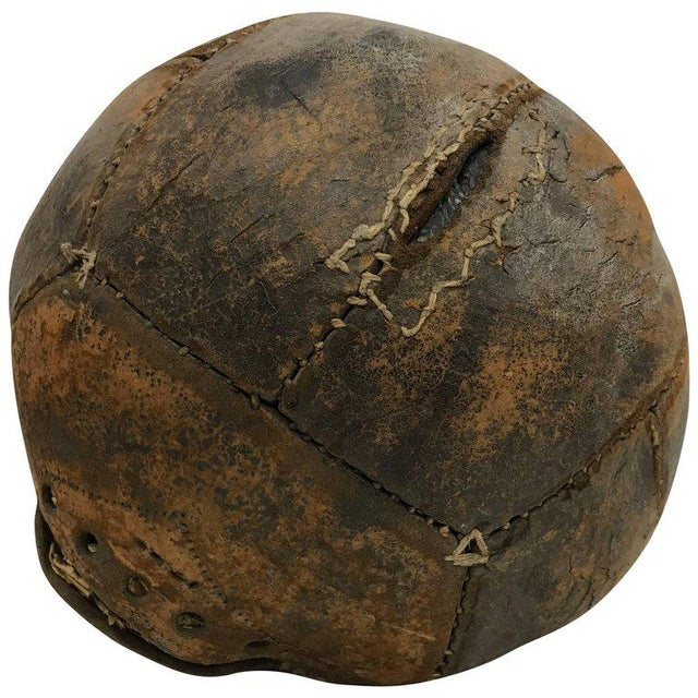 Brown Antique Leather Medicine Ball With Great Vintage Patina For Sale - Image 8 of 8