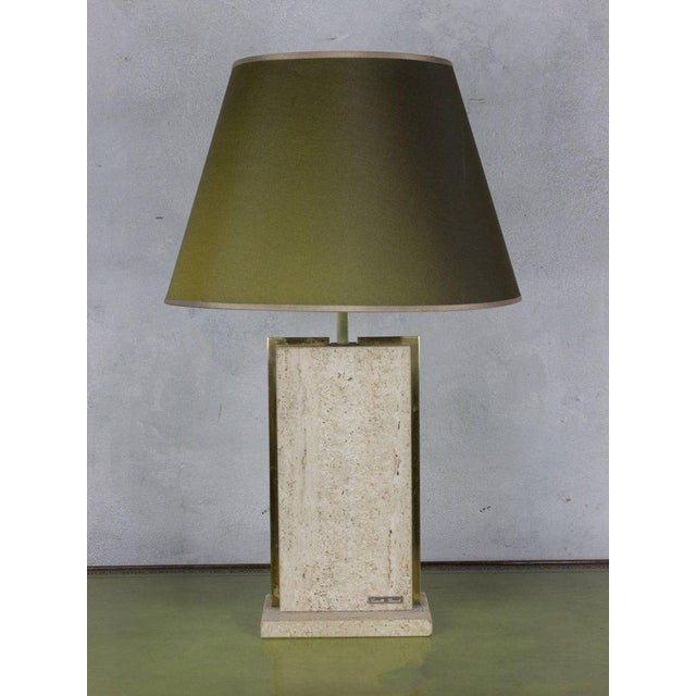 Metal Travertine and Brass Lamp Signed by Camille Breesch, 1970s For Sale - Image 7 of 9