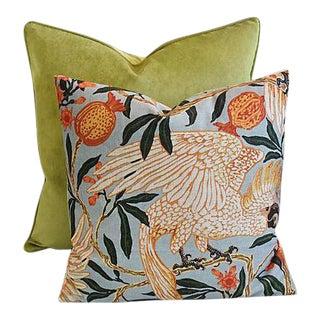 Apple Green Velvet/Parrot Feather/Down Pillows - A Pair