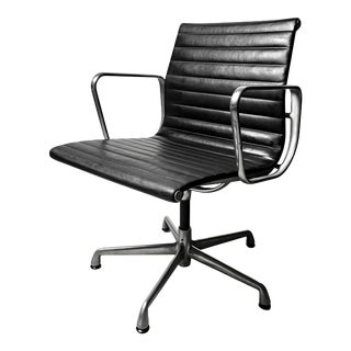 Modern Eames Aluminum Group Side Chair With Arms by Herman Miller
