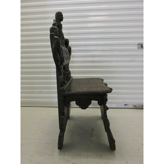 19th Century African Mythology Themed Carved English Hall Chair Preview