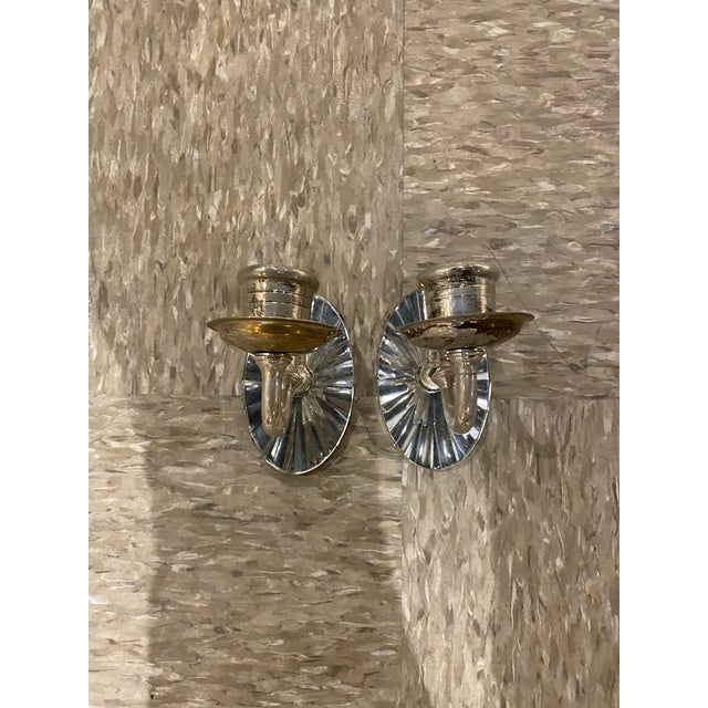 1920s Silver Plated Mirrored Sconces - a Pair For Sale In New York - Image 6 of 6