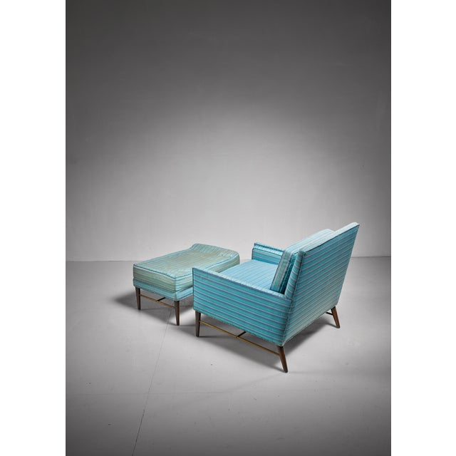 Mid-Century Modern Paul McCobb lounge chair with ottoman for Calvin, American, 1950s For Sale - Image 3 of 5