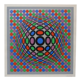 1970s Victor Vasarely Op Art Serigraph Print For Sale