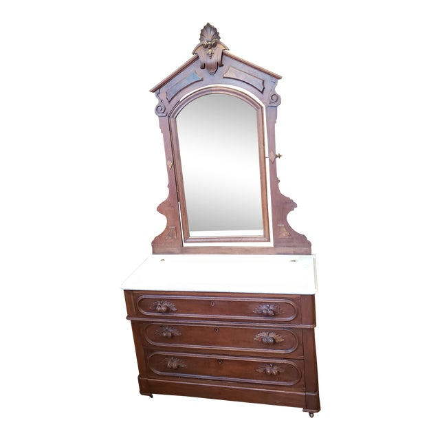 19th Century Antique Eastlake Style Dresser With Mirror and Hidden Drawer For Sale