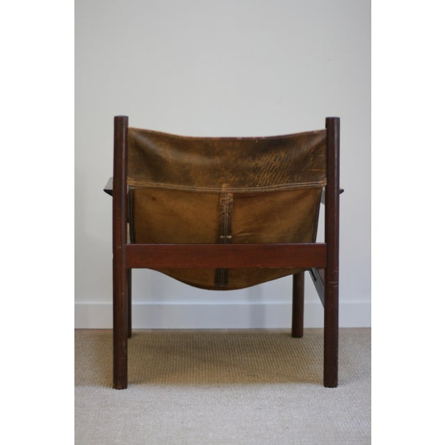 Michel Arnoult Leather Sling Chair For Sale - Image 5 of 9