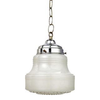 Small Mid -Century Modern White and Clear Glass Schoolhouse Style Pendant Light For Sale