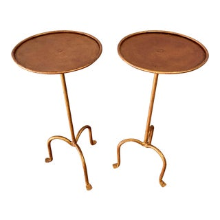 Gilt Iron Martini or Side Tables - a Pair For Sale