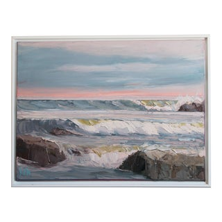 Modern Pink Horizon Oil Painting For Sale