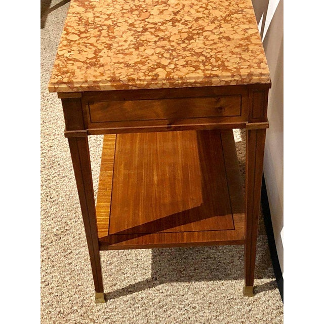 Pair of Maison Jansen Style Marble-Top Single Drawer Nightstands or End Tables For Sale - Image 12 of 13