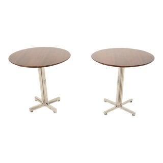 Pair of Custom Side Tables with Aluminum Base and Walnut Top