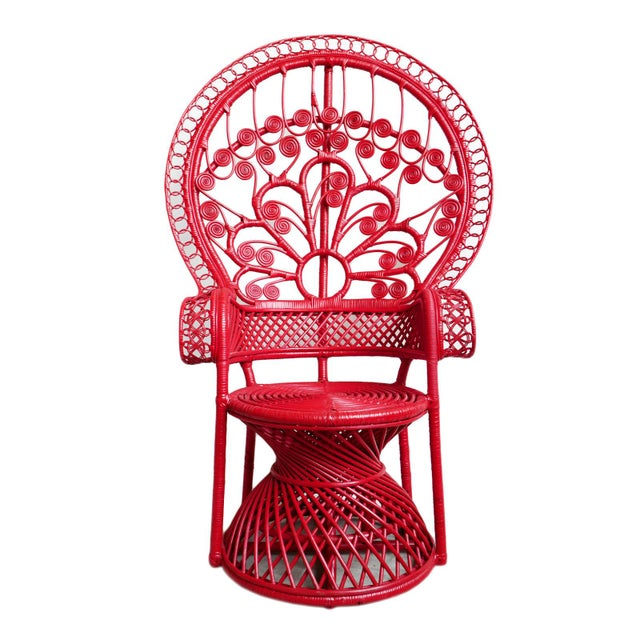 Wicker Tomato Bunga Peacock Chair For Sale - Image 7 of 7