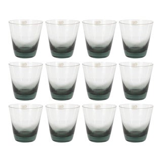 Set of 12 Mid-Century Modern Swedish Smoked Gray Low Ball Glasses by Björkshult For Sale