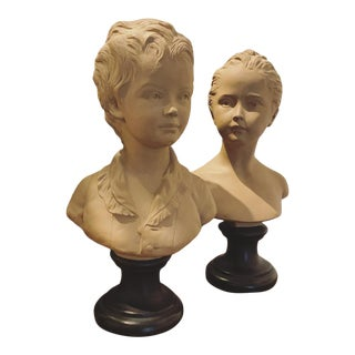 French Terra Cotta Bust Boy & Girl Bust Borghese - a Pair For Sale