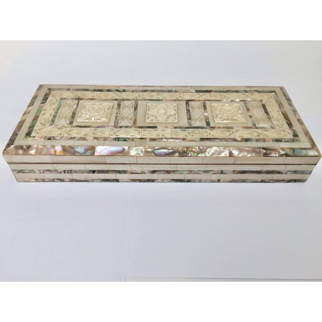 Middle Eastern Abalone and Mother-Of-Pearl Inlay Large Rectangular Box For Sale - Image 13 of 13