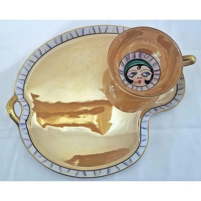 Noritake Pair of Vintage Art Deco Noritake Betty Boop Cups on Platters For Sale - Image 4 of 10