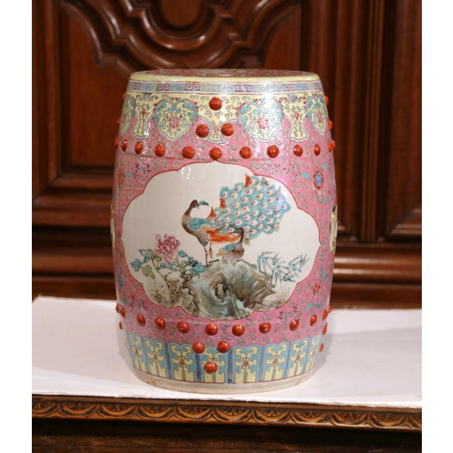 Mid-20th Century Asian Turquoise and White Glazed Ceramic Garden Stool For Sale - Image 10 of 10