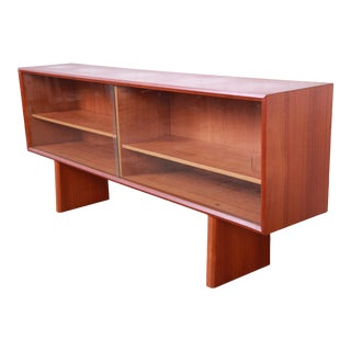 Ib Kofod-Larsen for Faarup Danish Modern Teak Glass Front Credenza or Bookcase For Sale