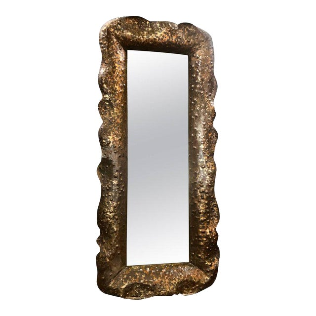 Stunning Vintage Hammered Mirror by Bragalin in Sculpted Bronze For Sale
