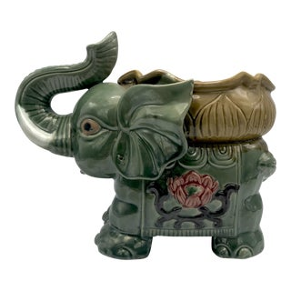 Mid-Century Large Elephant Majolica Glazed Floor Planter For Sale
