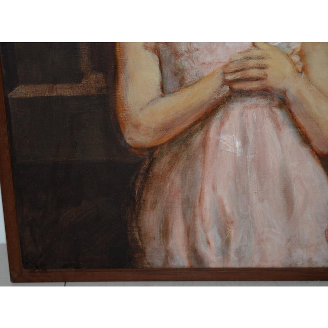 Vintage Oil Portrait of a Young Mother and Daughter c.1979 This wonderful oil painting shows a young mother with her...