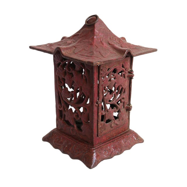 Cast Iron Red Garden Lantern - Image 1 of 2
