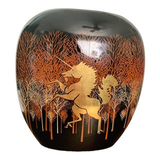 Vintage AsianMid Century Black Gold Vase With Unicorn Decoration - by Otagiri Japan For Sale