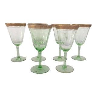 Vintage Green & Gold Tiffin Wine Glasses S/6 For Sale