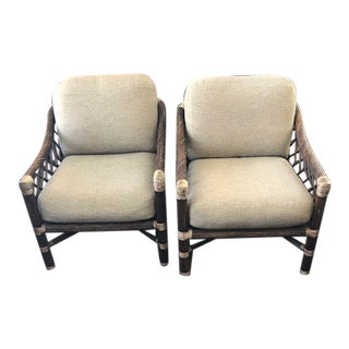 1970s McGuire Rattan Tube Lounge Chairs - A Pair For Sale