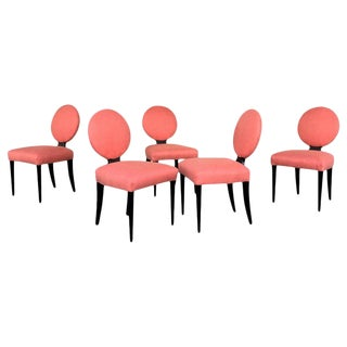 1940s Vintage Grosfeld House Round Back Chairs - Set of 5 For Sale