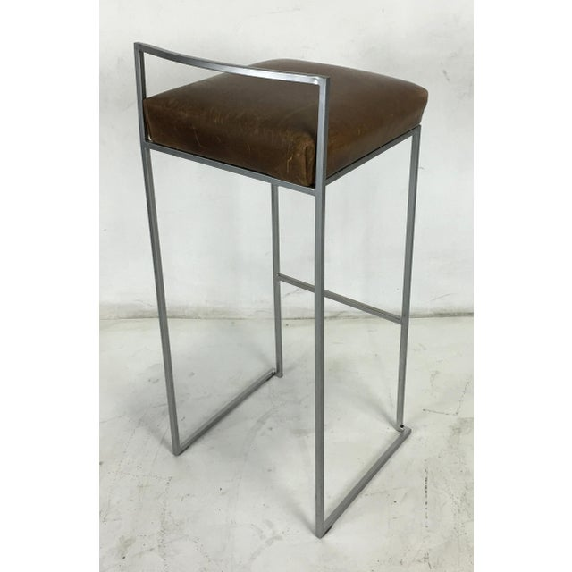 LaPalma Set of Four Minimalist Modern Bar Stools by Enzo Berti for LaPalma, Italy For Sale - Image 4 of 5