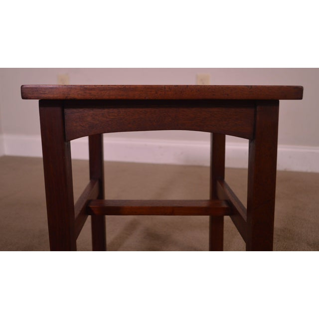 Antique Mission Style Mahogany Taboret Side Table For Sale - Image 12 of 13
