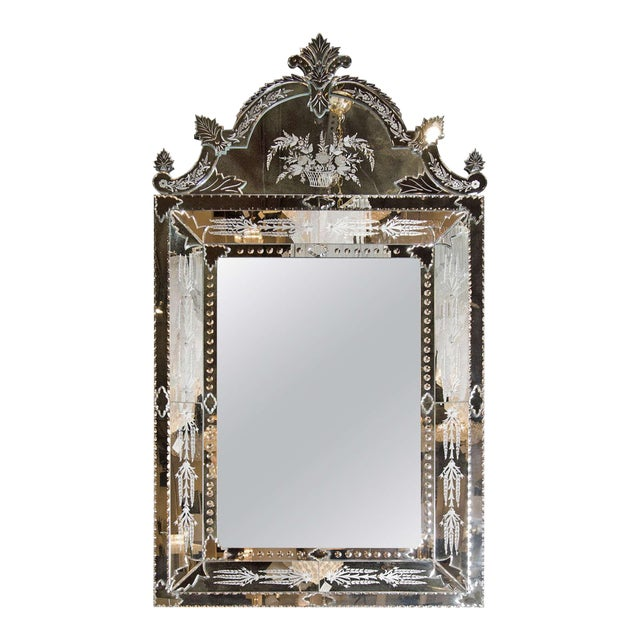Exquisite Venetian Style Mirror with Stylized Foliage Detailing For Sale