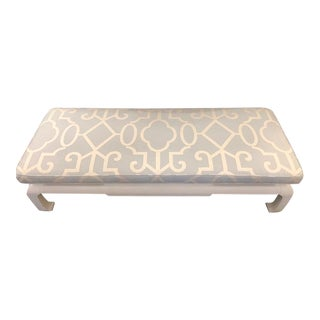 Upholstered White Bench With Geometric Fabric and Asian Style Wooden Legs For Sale